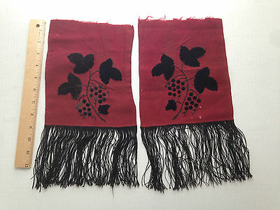 ANTIQUE Victorian Embroidered Applique Velvet on Wool Ladies Scarf Remnants