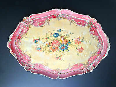 """Vintage Italy Hand Painted Gesso + Wood Venetian Florentine Oval Tray 20"""" x 14"""""""