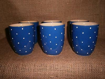 Set of 6 POTTERY Mugs /Cups Blue with White Spots
