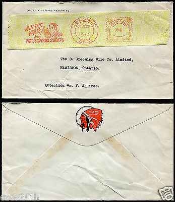 p33- WW2 TORONTO 1944 ILLUSTRATED Postage Tape. RED INDIAN OIL Advertising Cover
