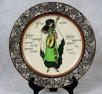 "Antique c1911 Royal Doulton Proverbs Hope Springs Eternal 10.5"" Plate #D3391"