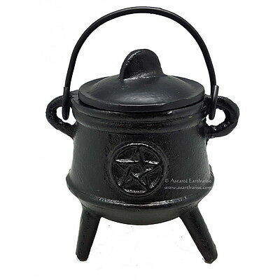 PENTACLE CAST IRON CAULDRON WITH LID 125 mm WI Wicca Pagan Witch Herbs Incense