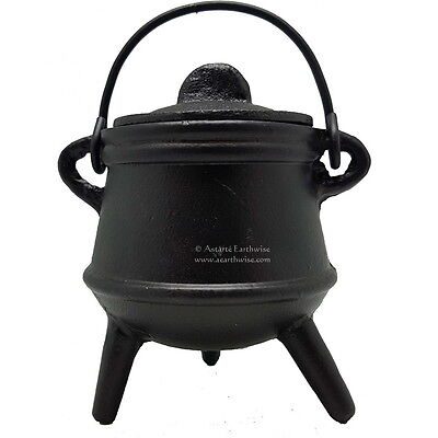 PLAIN CAST IRON CAULDRON WITH LID 125 mm WI Wicca Pagan Witch Herbs Incense