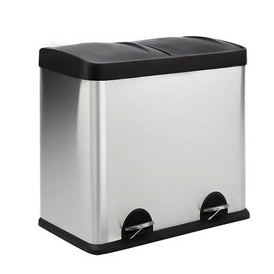 Stainless Steel Pedal 2 Compartments Rubbish Bin 60L
