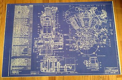 Harley Davidson Blueprint Motor Cycle Picture Vintage Sign Beer Knucklehead HD