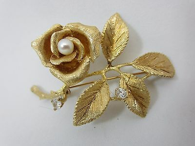 Vintage 14K Yellow Gold And Diamond Rose Pin Brooch pearl flower