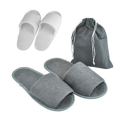 Portable Terry Towelling Slippers Guest Hotel Disposable Travel Toe Spa Shoes