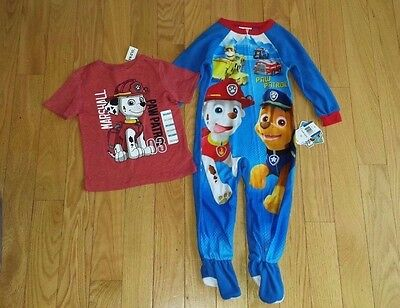 Boys PAW PATROL Lot ~ Footed Pajamas & Old Navy Collectabilitees T-Shirt 3T NWT