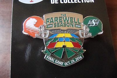 Saskatchewan Roughriders Mosaic Stadium Historic Final Game Pin Oct 29 2016