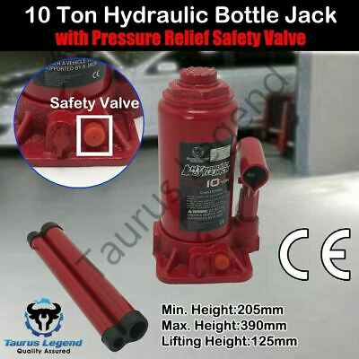 10 Ton High Quality Hydraulic Bottle Jack Car Van Truck Caravan W/ Safety Valve