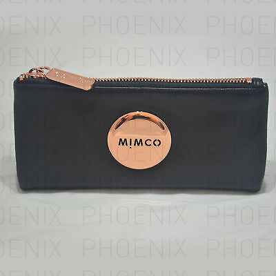 Mimco Mim Fold Sheep Leather Wallet Black With Rose Gold Hardware