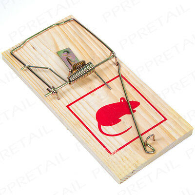 LARGE QUICK KILL Rat Snap Trap Spring Wood Pest Rodent Control Reusable EASY SET