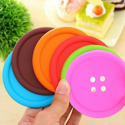 6 Pieces Silicone Button Coaster Cup Cushion Holder Drink Placemat Mat Holder