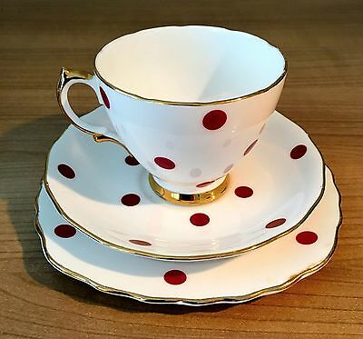 Vintage 50,s Royal Vale bone china Red Polka Dot Trio set. Cup, saucer & plate