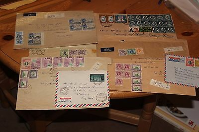 Collection of Registered Air mail Covers& part covers to England 11 photos