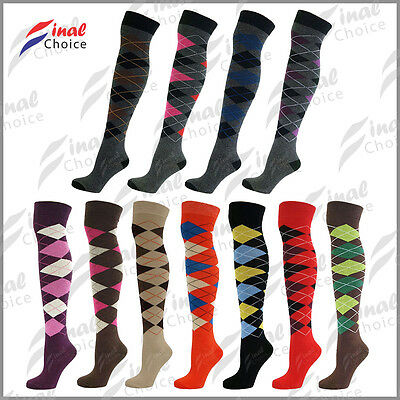 97e7b2864e2 Womens Ladies Over The Knee Thigh High Diamond Argyle Pattern One Size  Socks »