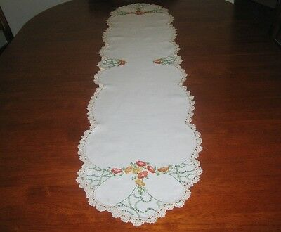 Vintage Hand Embroidered Table Runner ~ Linen ~ Lace Edged