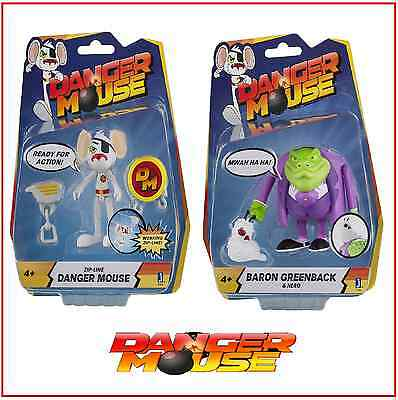 2 Danger Mouse Baron Greenback Action Figure & Zip Line Danger Mouse w Accessory