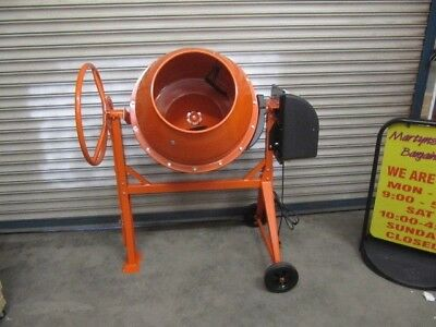 PCM130 Electric Powered Cement Mixer. Cement Mixer w/ 130L Capacity and Stand.