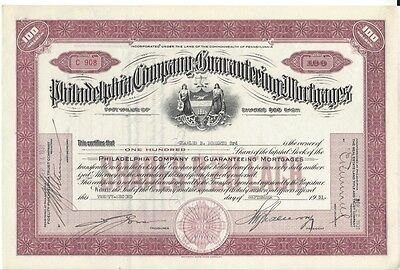Philadelphia Company For Guaranteeing Mortgages...1930 Stock Certificate