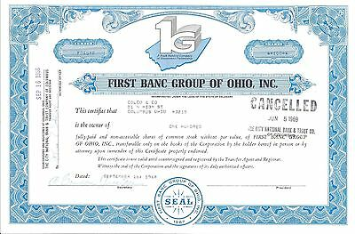 First Banc Group Of Ohio Inc.....1968 Stock Certificate