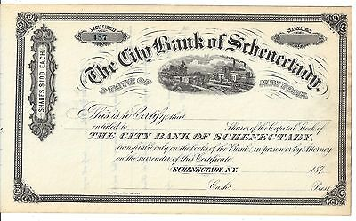 The City Bank Of Schenectady..........1870's Unissued Stock Certificate