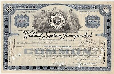 Waldorf System Incorporated.....1923 Stock Certificate