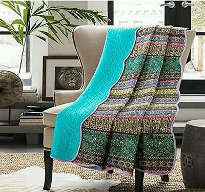 Jacquard Reversible Cotton Floral Handmade Printed Patchwork Quilt Throw RRP £70