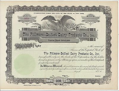 The Fillmore-Belfast Dairy Products Co. Inc....unissued Stock Certificate