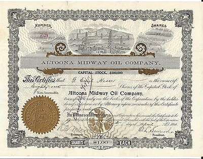 Altoona Midway Oil Company......1911 Stock Certificate