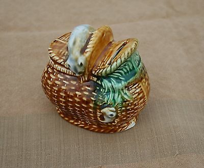 Rare Antique French Majolica Onnaing Piggy Bank Cat And Mouse On Basket Marked