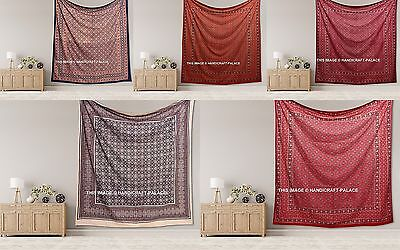 5 PC Wholesale Lot Hand Block Ajrakh Print Tapestry Indian Queen Wall Hanging