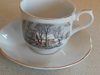 1977 Avon Representative Currier and Ives Cup and Saucer