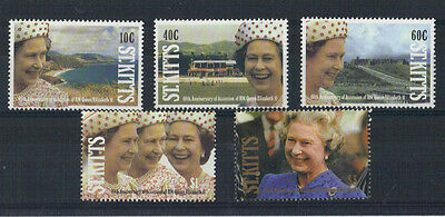 St KITTS 1992 40th ACCESSION HAPPY & GLORIOUS SET OF ALL 5 MNH