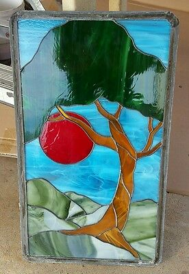 "Stained glass window. 12.5 x 21.5 "" with leaded frame"