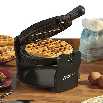 Rotary Belgian Waffle Maker | Round Non Stick Iron (Black) by Cooks Professional
