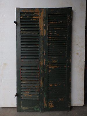 Two Antique Red/Green Shutters Window Wood Louvered Shabby Old Chic 15x55 10-17R