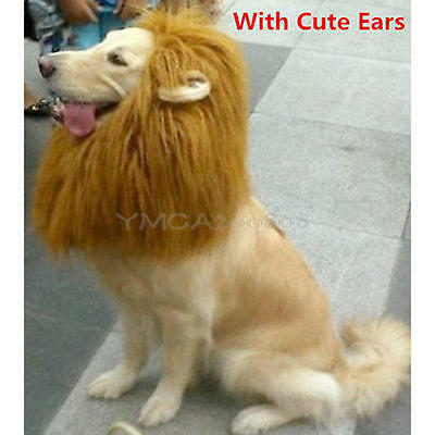 Pet Costume Lion Mane Wig Dog Cat Halloween Clothes Fancy Dress up with Ears