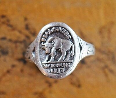 WW1 Period memorable Silver ring with bull image Bialowieza - Vienna 1917