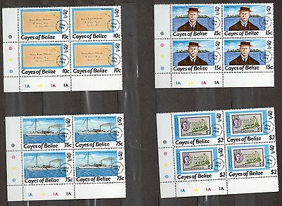 Cayes Of Belize Stamps 1984 Postal History Plate Blocks Of 4 Mint Never Hinged