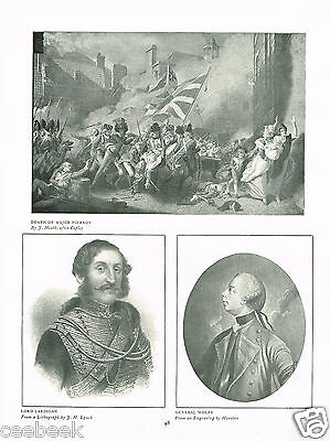 Death Of Major Pierson, Lord Cardigan, Gen. Wolfe Antique Military Picture Print