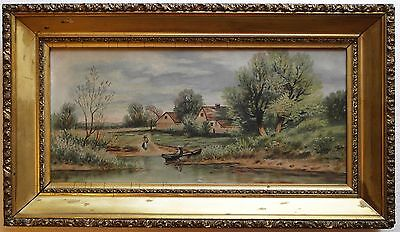 19th Century Oil on Canvas Naive Folk Art Genre Painting
