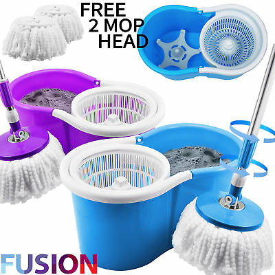 360° Spinning Rotating 3 Microfibre Cleaning Heads Spin Mop Floor Bucket Kitchen