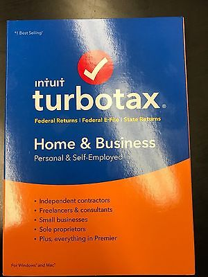 Intuit Turbotax Home and Business WIN & MAC CD 1 PC NEW SEALED!