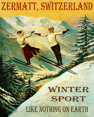 Poster Zermatt Switzerland Couple Ski Jumping Winter Sport Vintage Repro Free Sh