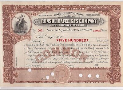Consolidated Gas Company (City Of Pittsburgh)..1890's Unissued Stock Certificate