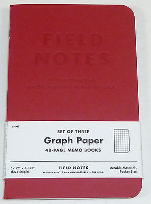 Field Notes - Red Blooded (2012) Graph Paper 48-Page Memo Note Book, 2-Pack, DDC