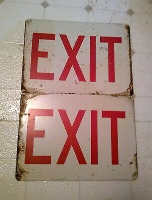 Lot of Two Metal  EXIT Signs 10X14 Estate Find