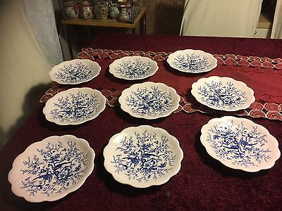 "Coalport ""Cairo"" Pattern Saucers Only Rare Light Pink Ground And Blue"