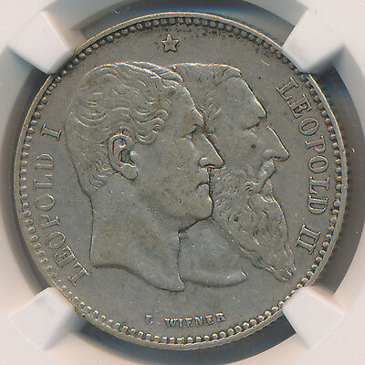MAKE AN OFFER -- Belgium 2 Francs 1880 Independence Anniversary - NGC XF 45